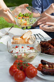 Delicious salads on grill party Royalty Free Stock Photography