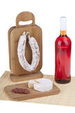 Delicious salami, cheese, wine Royalty Free Stock Images