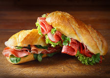 Delicious salami and ham baguettes Stock Photography