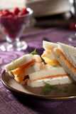 Delicious salmon and creamcheese sandwich. Sandwich with salmon and creamcheese stacked together royalty free stock photos