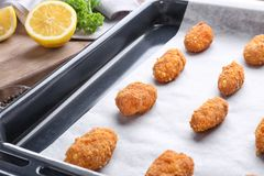 Delicious salmon croquettes in baking tray. Closeup Royalty Free Stock Images