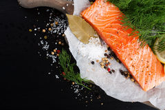 Delicious salmon fillet, rich in omega 3 oil. Aromatic spices and lemon on fresh lettuce leaves on black background. Healthy food, diet and cooking background stock photos