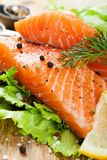 Delicious salmon fillet, rich in omega 3 oil Stock Photo