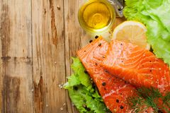 Delicious salmon fillet, rich in omega 3 oil Stock Photography