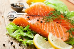 Delicious salmon fillet, rich in omega 3 oil Royalty Free Stock Images
