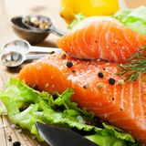 Delicious salmon fillet, rich in omega 3 oil Royalty Free Stock Photo
