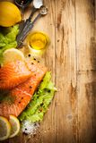 Delicious salmon fillet, rich in omega 3 oil Stock Image