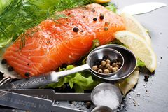 Delicious salmon fillet, rich in omega 3 oil Royalty Free Stock Image