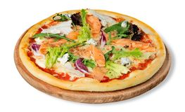 Delicious pizza with salmon isolated on white. Delicious salmon pizza fast food italian cuisine junk food red royalty free stock image