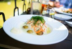 Delicious salmon with potatoes Royalty Free Stock Images