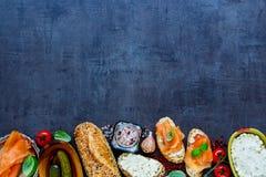 Delicious salmon sandwiches Stock Photography