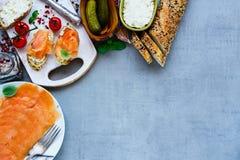 Delicious salmon sandwiches Royalty Free Stock Photos