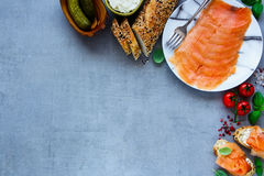 Delicious salmon sandwiches Royalty Free Stock Photo