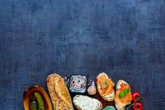 Delicious salmon sandwiches Royalty Free Stock Image
