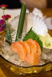 Delicious Salmon sashimi in beatiful plate stock photography