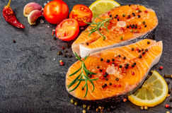 Delicious salmon steak close-up royalty free stock images