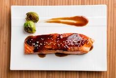 Delicious salmon teriyaki dish top view. Royalty Free Stock Images