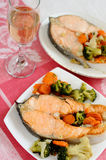 Delicious salmon with vegetables Royalty Free Stock Images
