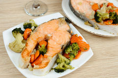 Delicious salmon with vegetables Stock Photo