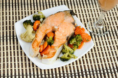 Delicious salmon with vegetables Stock Image