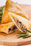 Delicious samosa pies with meat on plate. Menu, restaurant, reci Stock Image