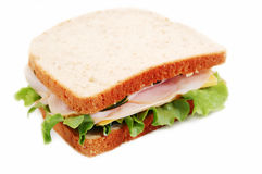 Delicious Sandwich. Turkey sandwich on whole wheat on a white background Stock Images