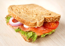 Delicious Sandwich. With smoked salmon Royalty Free Stock Photos