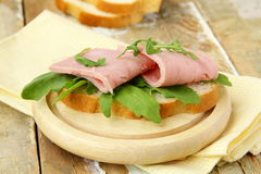 Delicious sandwich with ham Stock Photos