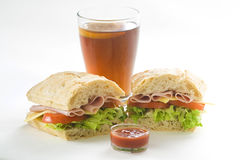 Delicious sandwich of ham cheese lettuce tomato. Delicious sandwich of ham cheese lettuce fresh tomato Stock Image