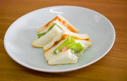 Delicious sandwich with ham vegeable bread on  white dish , home. Made sandwich, health food,close up Stock Images