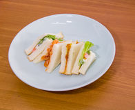 Delicious sandwich with ham vegeable bread on  white dish , home. Made sandwich, health food,close up Stock Photography