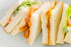 Delicious sandwich with ham vegeable bread on  white dish , home. Made sandwich, health food,close up Royalty Free Stock Image