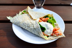 Delicious sandwich with lettuce and smoked salmon Royalty Free Stock Photo