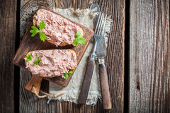 Delicious sandwich made of pate with parsley Royalty Free Stock Photo