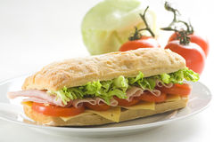 Delicious Sandwich Of Ham Cheese Lettuce Tomato Royalty Free Stock Photo