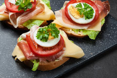 Delicious sandwich with prosciutto ham, cheese, tomato and egg Stock Image