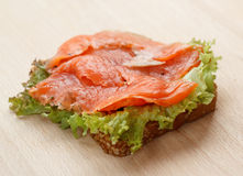 Delicious sandwich. With smoked salmon Royalty Free Stock Photo