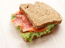 Delicious sandwich. With smoked salmon Stock Photography