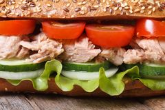Delicious sandwich with tuna and vegetables macro. horizontal Stock Photo