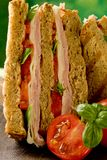Delicious Sandwich on wooden table Royalty Free Stock Images