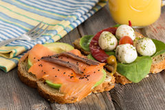 Delicious sandwiches for a healthy picnic Stock Photos