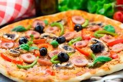 Delicious sausage pizza Stock Photo