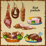 Delicious sausages, hams and and other meat Royalty Free Stock Photo