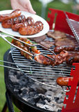 Delicious sausages prepared on grill Stock Image
