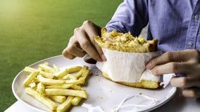 Delicious scrambled eggs ham cheese sandwich stock photos
