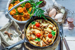 Delicious scrambled eggs with wild mushrooms Royalty Free Stock Image