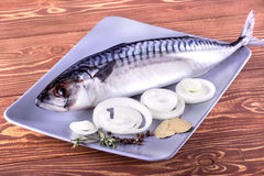 Delicious sea fish on wooden background. Healthy food, diet or cooking concept Stock Photo
