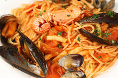Delicious sea food pasta Royalty Free Stock Photo