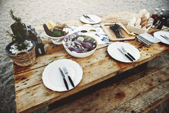 Delicious Sea Food Wooden Table Bench Shore Concept Stock Images