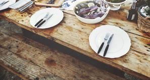 Delicious Sea Food Wooden Table Bench Shore Concept Royalty Free Stock Images